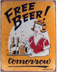 Free Beer Tomorrow sign